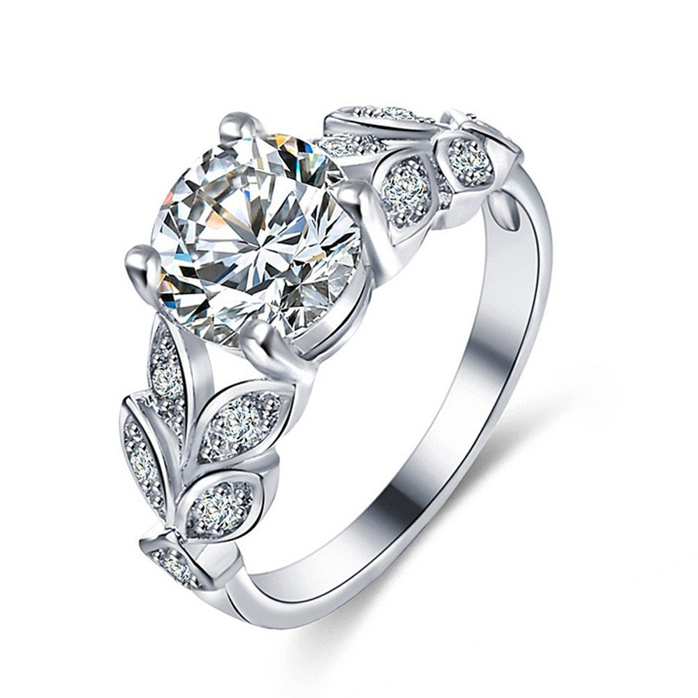 Rings,AutumnFall 2017 New Design Flower Crystal Wedding Ring Jewelry Accessories Engagement Ring For Women (Size 6, Silver)