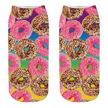 Новинка, стильные модные короткие носки с 3D-принтом шоколада, фруктов, мороженого, гамбургера, забавные летние женские короткие носки Harajuku ...(Китай)