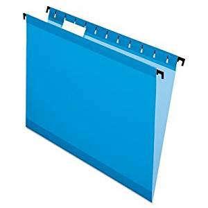 Pendaflex SureHook Reinforced Hanging File Folder - Letter - 8.50quot; Width x 11quot; Length Sheet Size - 1/5 Tab Cut - Blue - 20 / Box