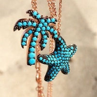 LY Fashion Coconut tree Pendant Necklace And 925 Sterling Silver Turquoise Starfish Necklace