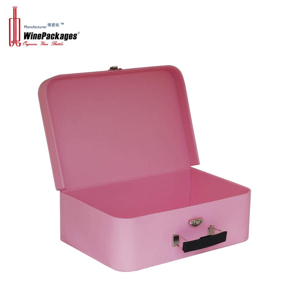 China factory luxury small pink leather cardboard suitcase