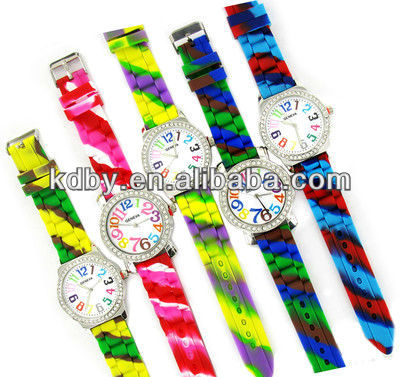 Big Color Numbers Silicon Bracelet Tie- Dye Watch