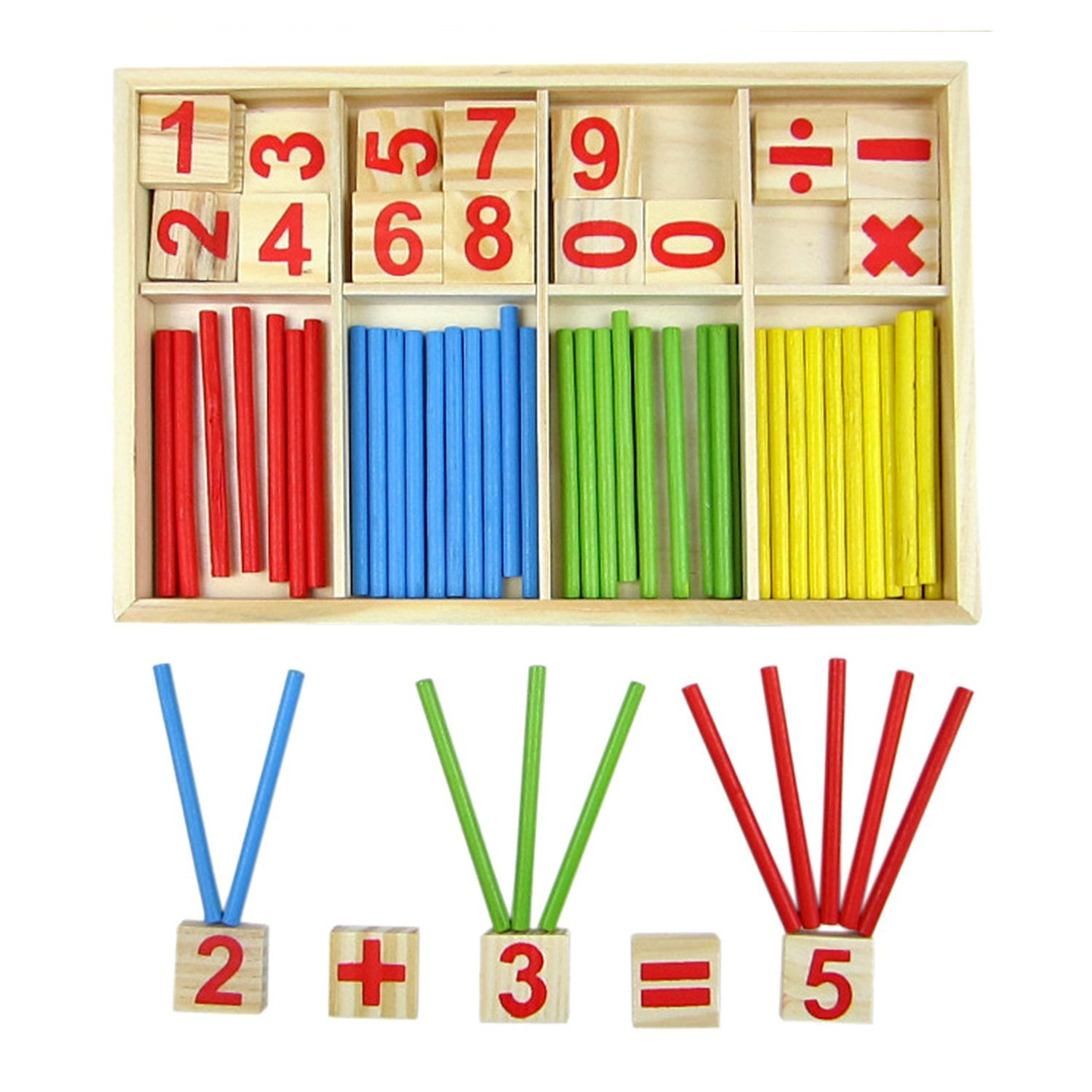 Baztoy Kids Preschool Counting Toys Wooden Number Cards and Counting Rods, Wood Counting Sticks Math Tools Preschool Toys, Montessori Mathematics Learning Educational Toys for Kids - 4 Colors in Box