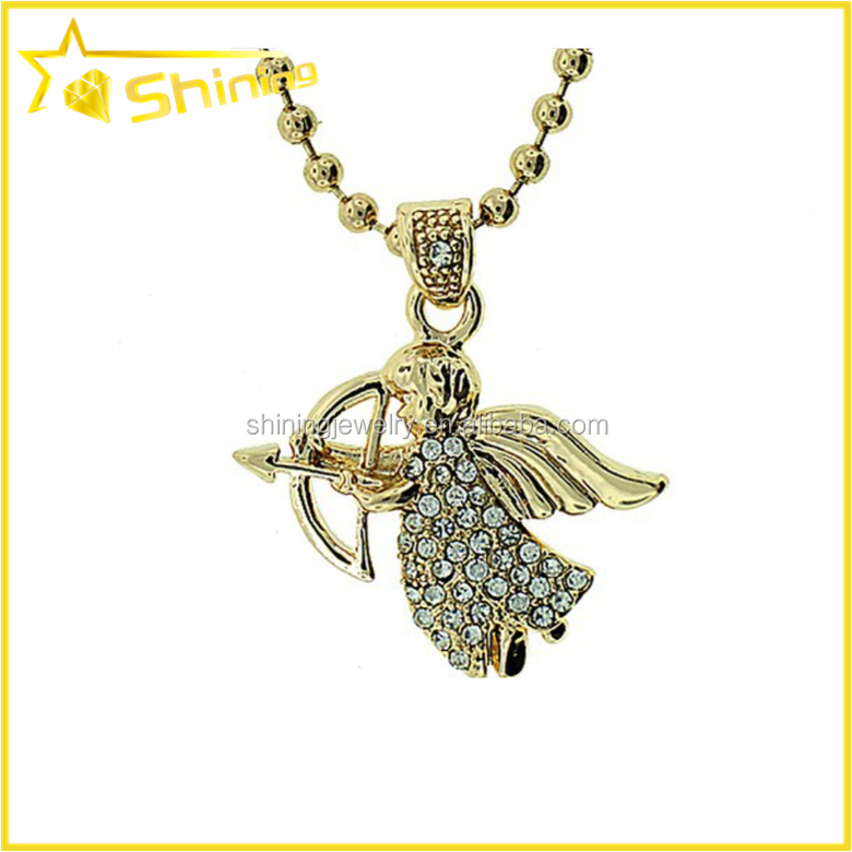 Puyu jewelry supplier micro setting white zircon angel pieces pendant