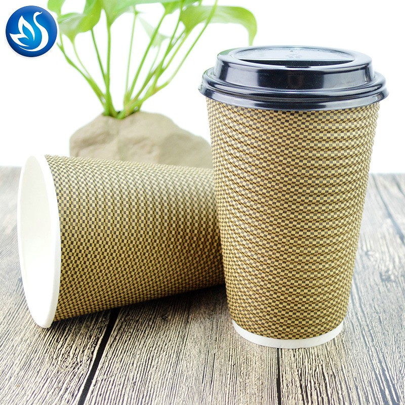 Disposable ripple wall double wall paper coffee cups