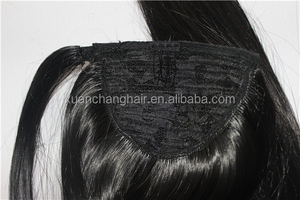 Women's ponytail black synthetic hairpieces one piece hair extensions