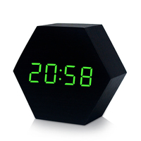 New Design Hexagon Led light clock unique multifunction wooden digital desk clock