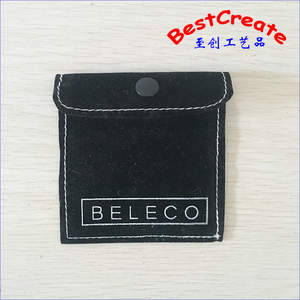 Customized luxury velvet felt jewelry pouches with snap button closure