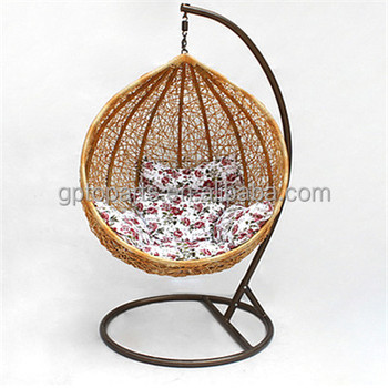 Naturer Rattan Wicker Chair Outdoor Hanging Egg Chair With Stands