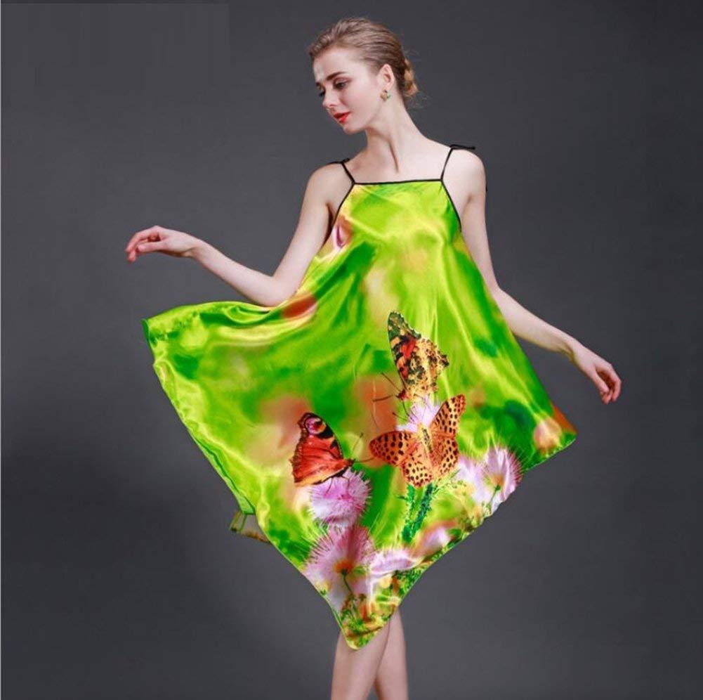 325d2be45a Get Quotations · ALJL Ladies pajamas national wind home imitation silk  pajamas comfortable