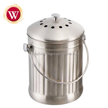 Seau De Compost De Cuisine D Acier Inoxydable De 1 0 Gallons Avec