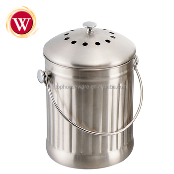 1.0 Gallon Stainless Steel Kitchen Compost Pail With Charcoal Filter
