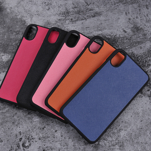 PC Rubber Coated Saffiano Genuine Leather Phone Case For iphone 5 6 7 8 X