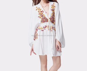 2018 embroidered dresses women long sleeve white sexy clothing Sta-209