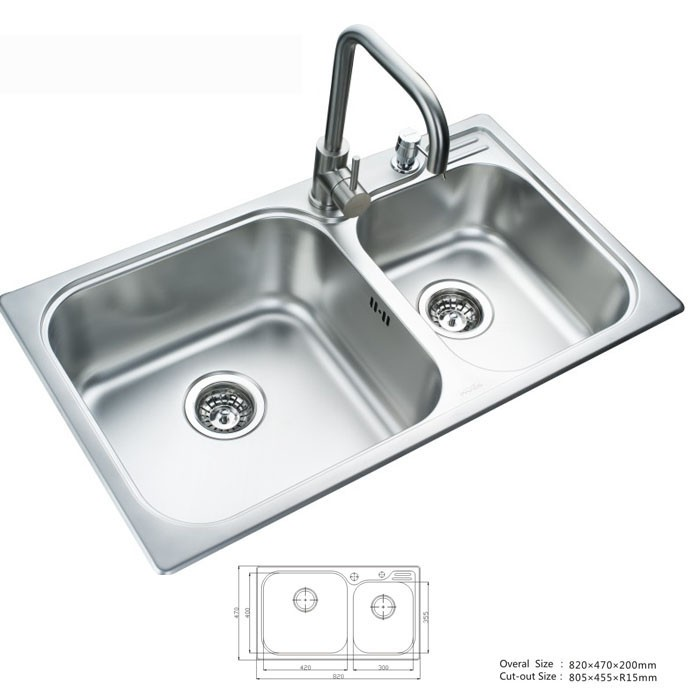 Domo 304 Square Stainless Steel Handmade Double Bowl Undermount Kitchen Sink DM-28351