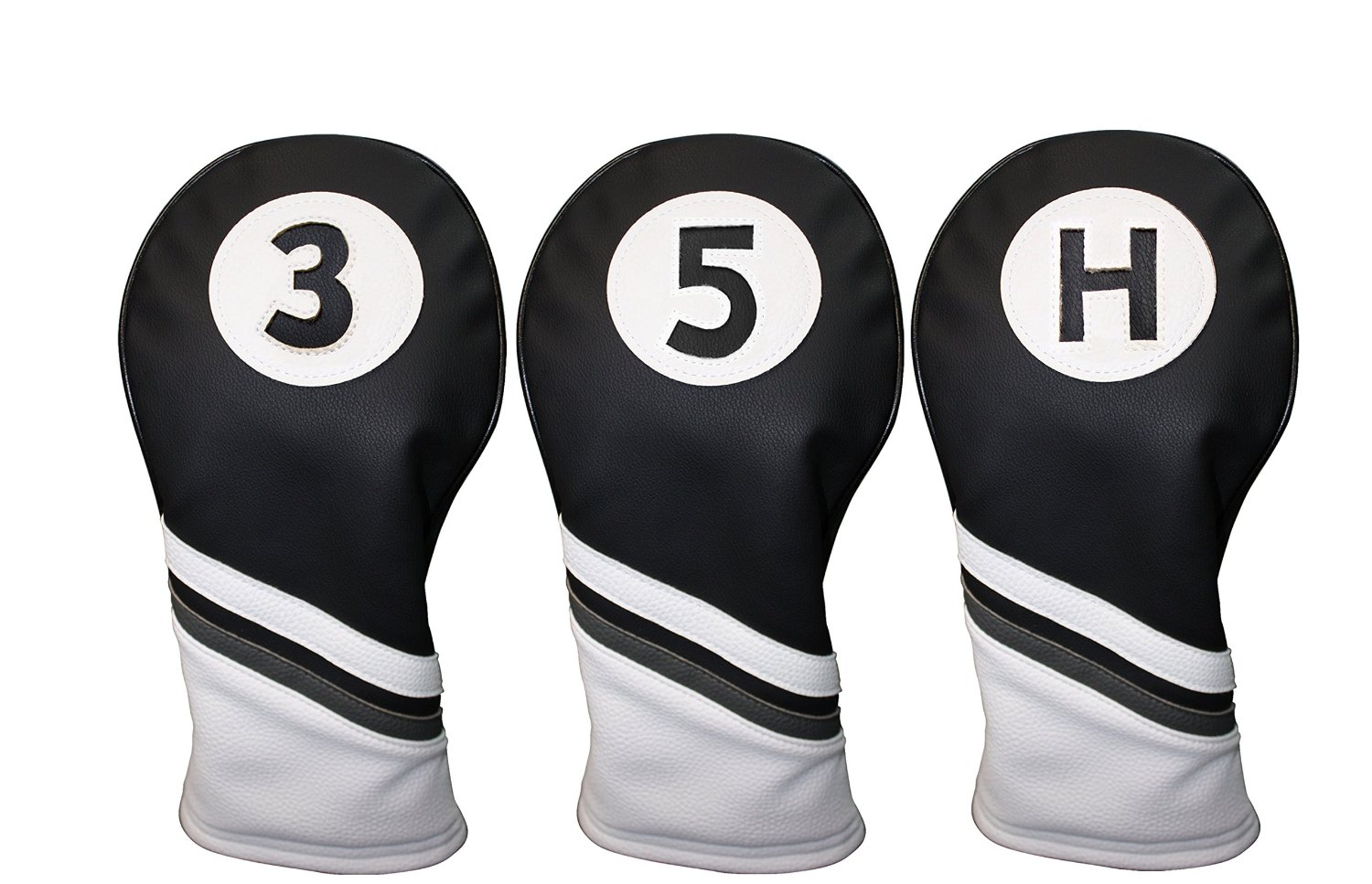 Golf Headcovers Black and White Leather Style 3, 5, H Fairway Head Covers