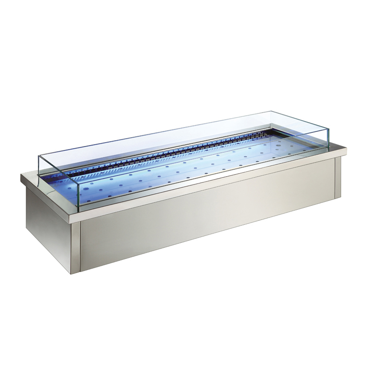 Commercial Buffet Counter SS304 Build-in Refrigerated Sea Food Showcase Fancooling