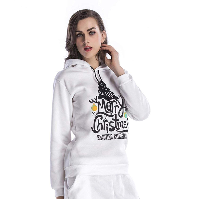 Hoodies,Han Shi Women Christmas Deer Print Fashion Sexy Loose Casual Hooded Tops Blouse