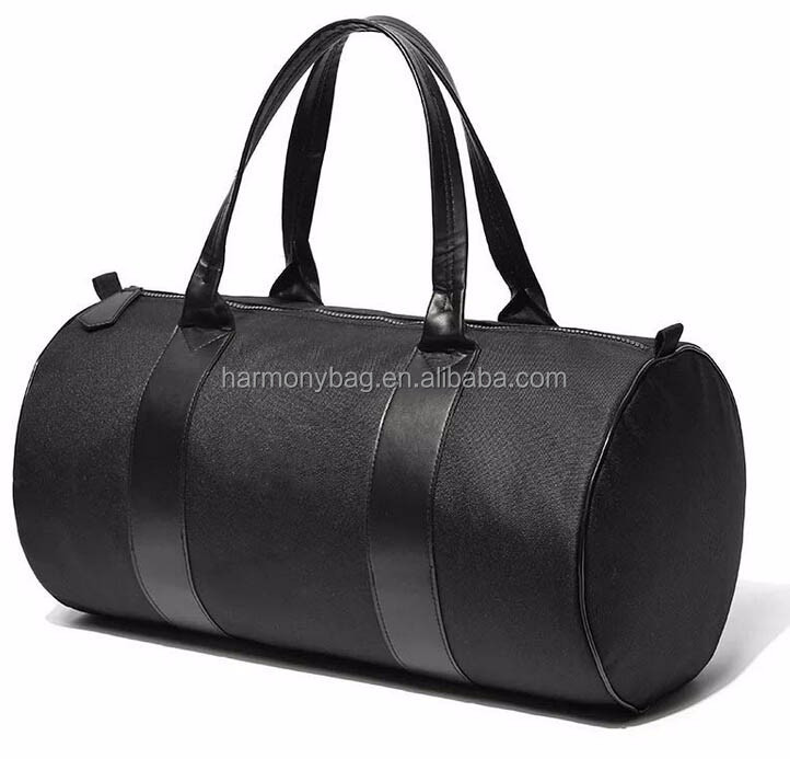 Factory supplier Durable polyester Round shaped black duffle bag