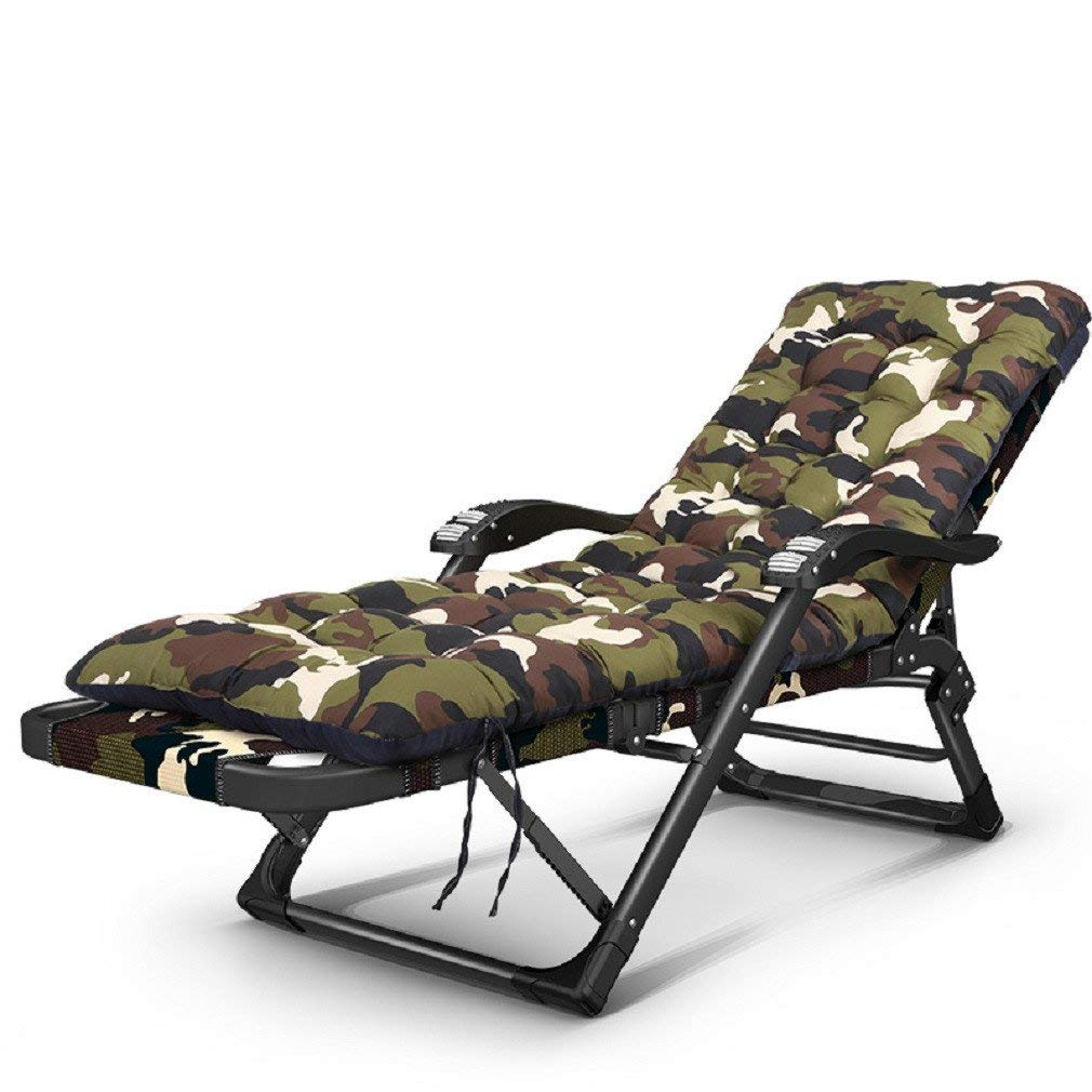 ZLJTYN Zero Gravity Folding Sun Lounger | Foldable Deck Chair Single Bed, Folding Bed, Bed Chair, Camp Bed, Folding Bed, Accompanying Bed, Nap Bed Office Lunch Break, Cot, Military, Camouflage