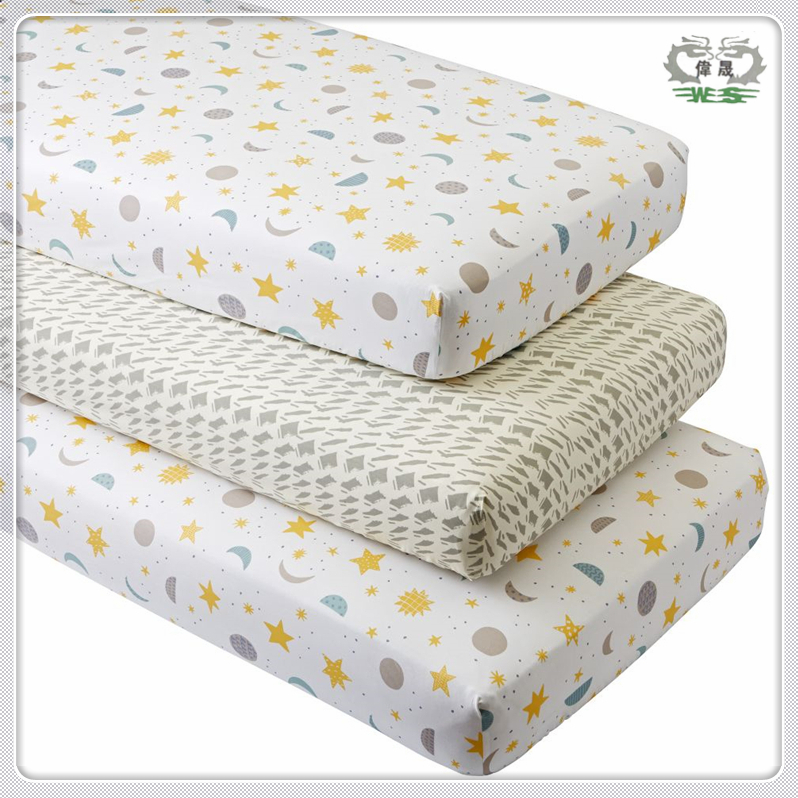 Cartoon Printed Anti Bacteria 100% Cotton Baby Crib Fitted Bed Sheets