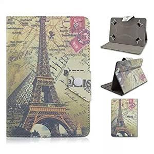 "Tsmine Barnes & Noble Nook HD BNTV400 7"" Tablet Flip Eiffel Tower Case - Universal Protective Lightweight Premium Fashion Retro Stamp Paris Eiffel Tower Printed PU Leather Case Cover, Eiffel Tower"