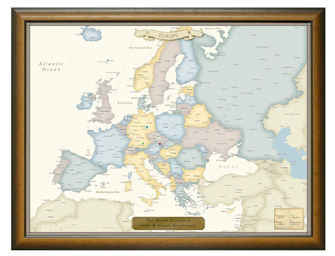 Personalized Push Pin Europe Travel Map with Custom Brushed Gold Plaque