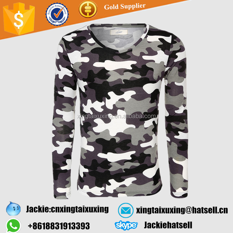 2017 camouflage military US army tactical v-neck men tshirt