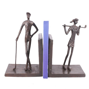Handmade brass golf players design desk organizer bookends for home decoration
