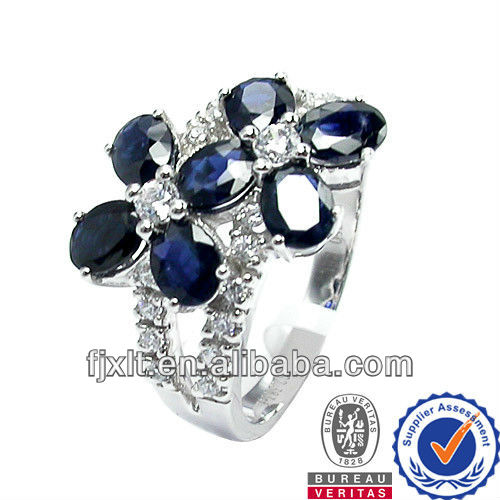 Concise Fashion Customized 18K Gold Diamond Natural Sapphire Rings