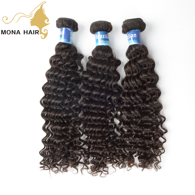 100% virgin remy hair extension tangle free no colored hold curl well curly hair brazilian hair, Natural color #1b