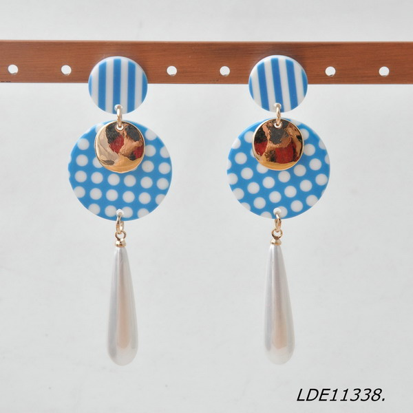 Blue and white Striped and Polka Dot Circle Drop Earrings