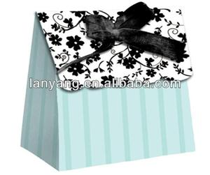 fashion blue wedding door silk invitation gift boxes wholesale
