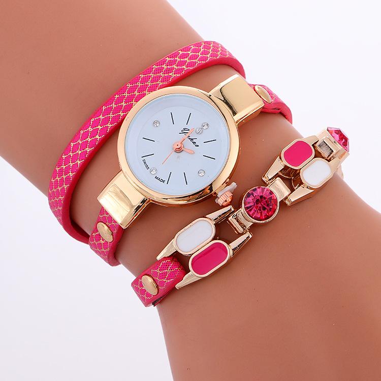 Helpful Fashion Women Watches Casual Female Diamond Wrap Around Leatheroid Bracelet Quartz Wrist Watch Clock Reloje Watches