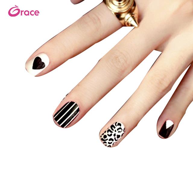 B06 white and black Striped leopard fake nails фото
