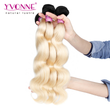 Factory Price Yvonne Unprocessed Brazilian Elegant color Ombre Blonde Body Wave Hair Weft