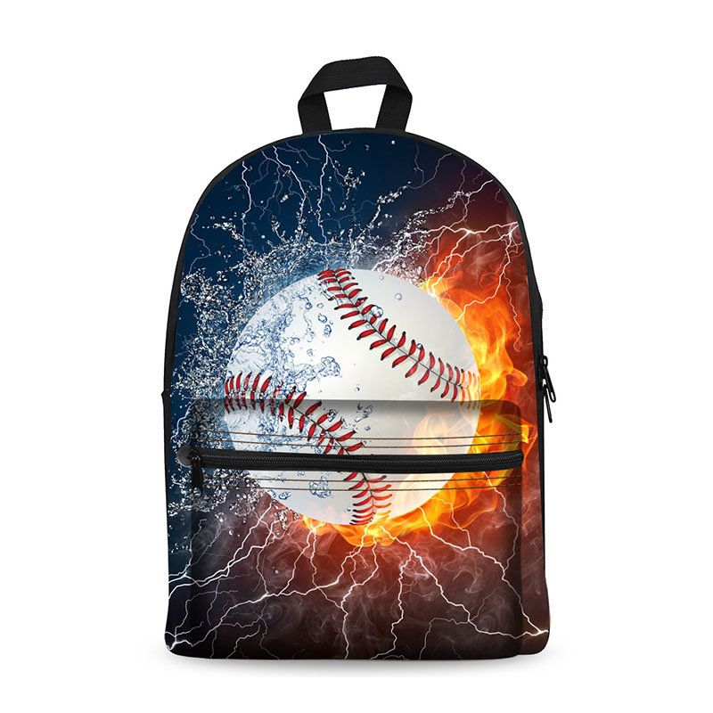 Back to School Canvas Backpacks with Baseball Image for School Teenage Students