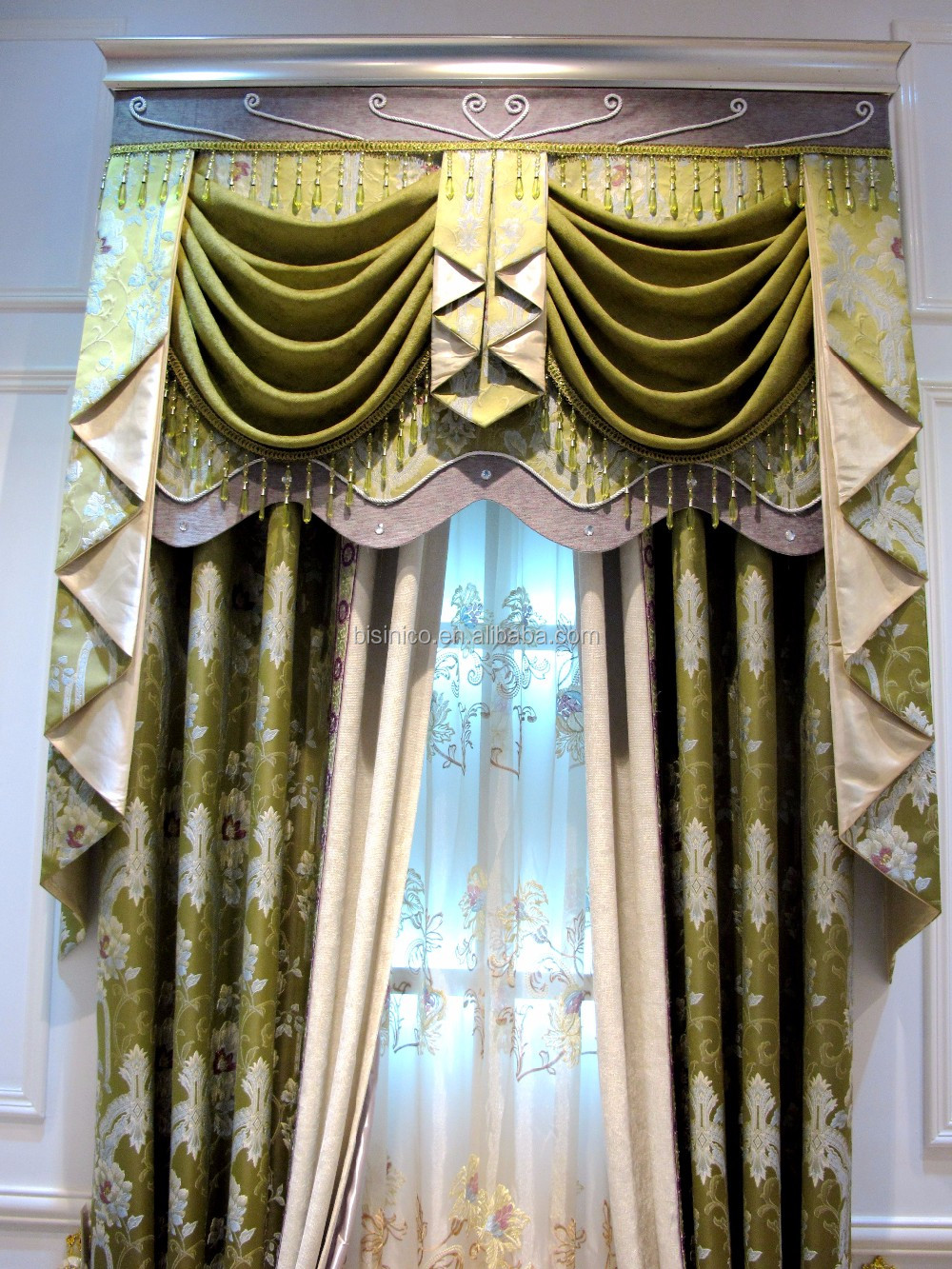 Antique French Style Living Room Pleat Blackout Curtains