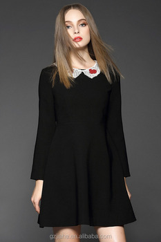 cd262ff275 European style women winter dresses red and black peter pan collar dress