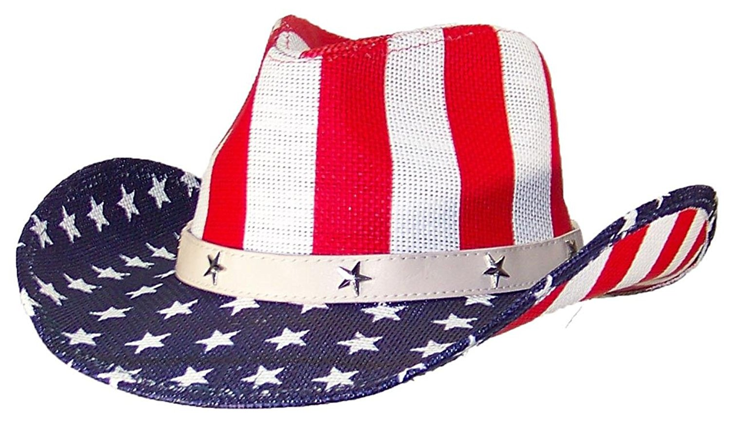 e1c353f31d417 Get Quotations · Tropic Hats Mens Patriotic U.S. Flag Cowboy Hat W Metal  Stars On Band (One