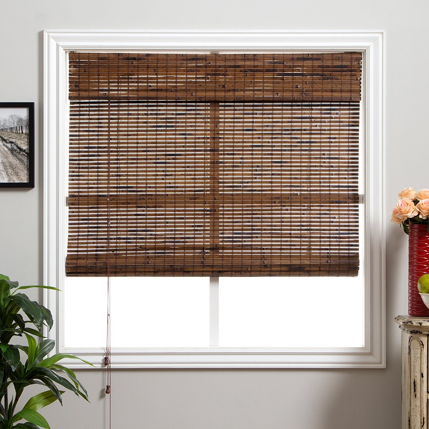 Get Quotations · Single Piece Dark Brown Bamboo Shade, 98 Inches Shade,  Window Blind, Includes Hardware