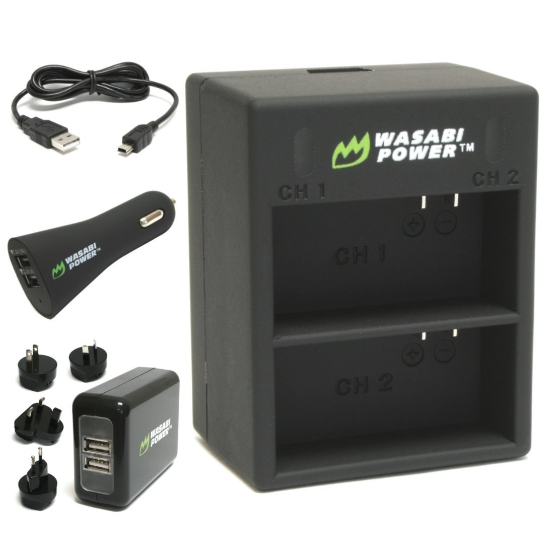 Wasabi Power Dual Battery Charger for GoPro HERO3, HERO3+ (with Car & Worldwide Plugs)