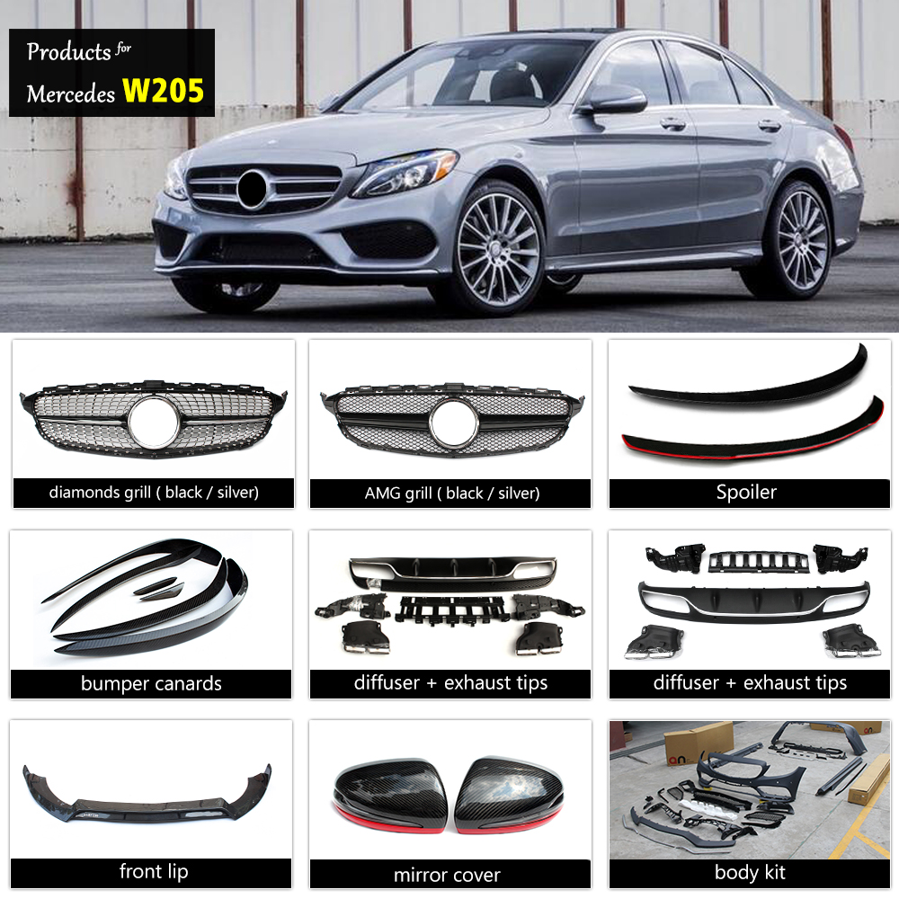 Mercedes C class W205 amg body kit & grill & AMG spoiler & mirror cover & rear diffuser for W205