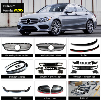 mercedes c class w205 amg body kit grill amg spoiler. Black Bedroom Furniture Sets. Home Design Ideas