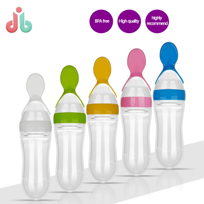 Manufacturing Hot Selling BPA Free Silicone Squeeze Baby Feeder Spoon/Food Dispensing Spoon/Rice Paste