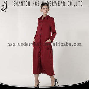 MD8038 Fall loose wine red long sleeve muslimah abaya maxi dress islamic clothing patterns for women dress with button front