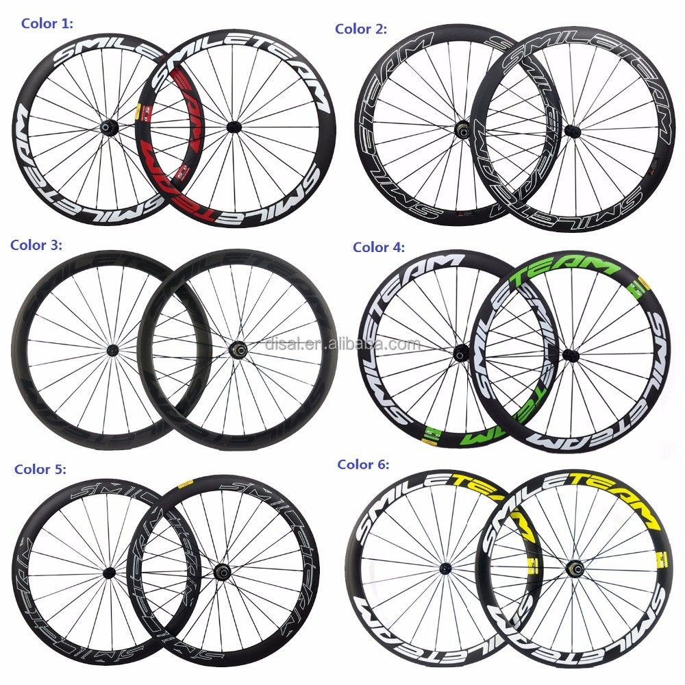 Smileteam 50mm Road bicycle wheels 700c Full carbon Road Bike Clincher wheels ,Carbon cycling wheelset