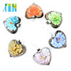 XULIN 12pcs/box Vintage Glass Heart Shaped Foil Lampwork Flower DIY Hand Made Beaded Accessories Necklace Pendants