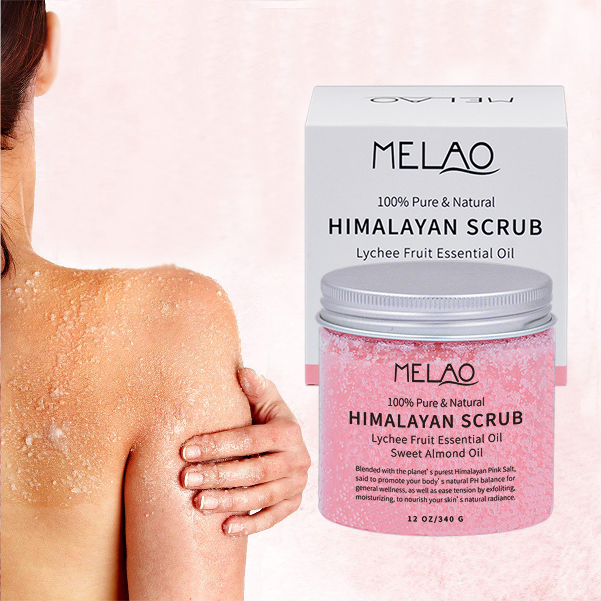 Pure Himalayan Salt Body Scrub with Lychee Essential Oil, All Natural Scrub to Exfoliate & Moisturize Skin 340g