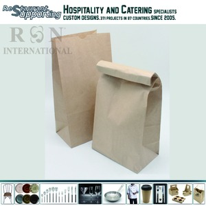 Recycled 55g kraft paper design take away fast food restaurant paper bag for food